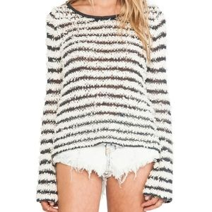 Free People Downy Stripe Knit Cropped Sweater S